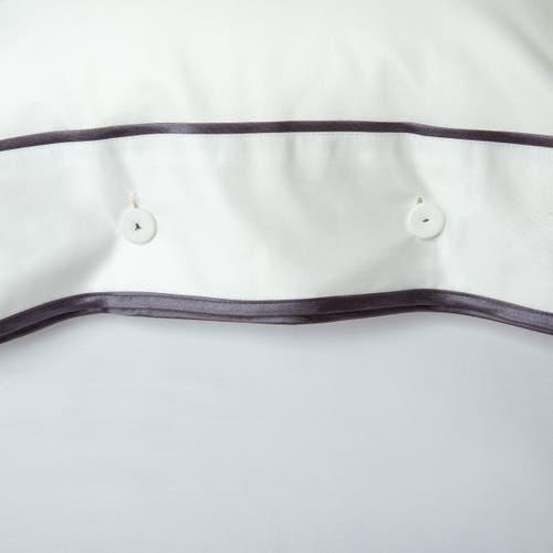 Parure de lit Monaco en satin de coton 220 fils/cm² - 550TC - liseré gris anthracite - taie d'oreiller avec boutons