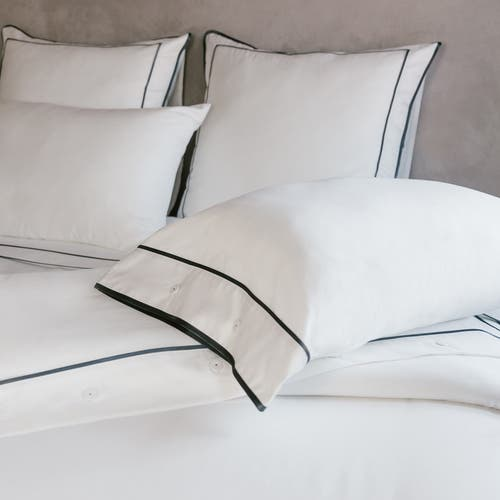 Parure de lit Monaco en satin de coton 220 fils/cm² - 550TC - liseré gris anthracite - housse de couette avec boutons