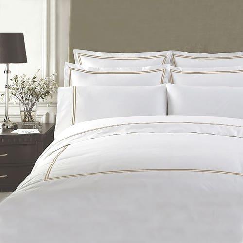 Linge de lit en Coton Pima 300 fils/cm² - 750TC à Double Cordon Doré - Housse de Couette